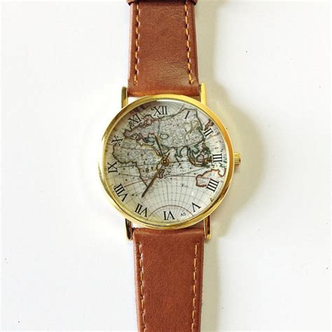 map vintage style leather watches by