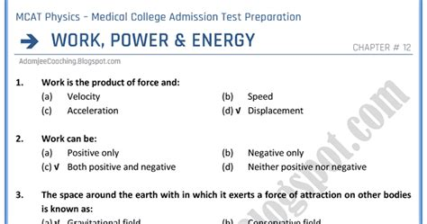 Mba In Power And Energy by Adamjee Coaching Mcat Physics Work Power And Energy