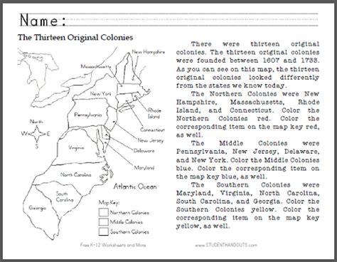 america map skills worksheets thirteen original colonies map primary worksheet free