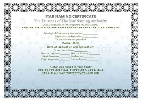 star naming certificate templates 15 free official
