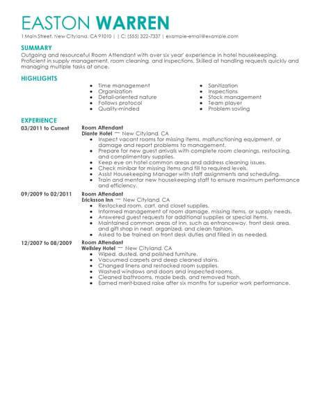 housekeeping room attendant cv sle best room attendant resume exle livecareer