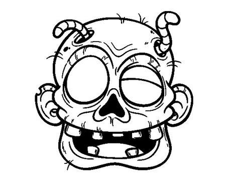 imagenes de halloween zombies dibujo de cara de zombie con gusanos para colorear