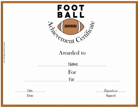 Free Custom Football Certificates Soccer Award Template