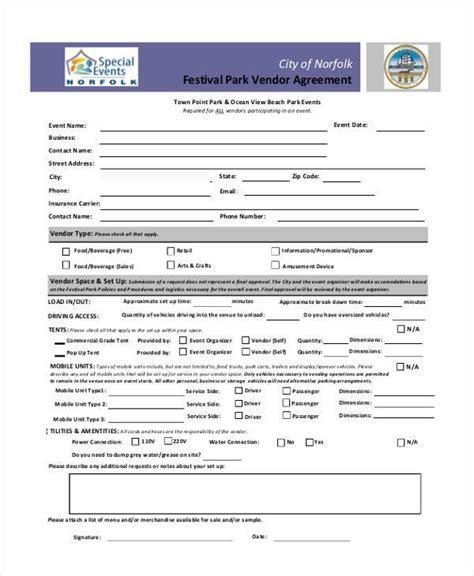 sample vendor agreement forms   word