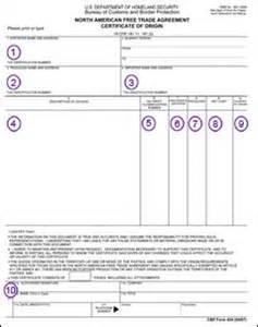 nafta certificate template international export shipping documentation nafta