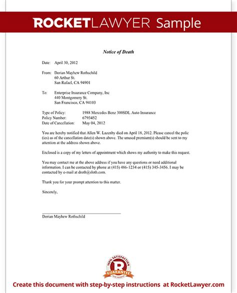 Insurance Refund Letter Template Notice Of To An Insurance Company Letter Template With Sle