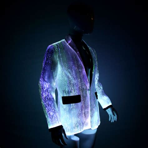 glow in the dark lights led jacket for men platinum glow in dark fiber optic