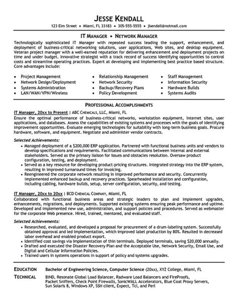 it infrastructure project manager resume sles of resumes