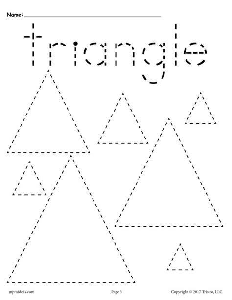 Triangle Printable Worksheets For Preschoolers | 12 free shapes tracing worksheets circles squares