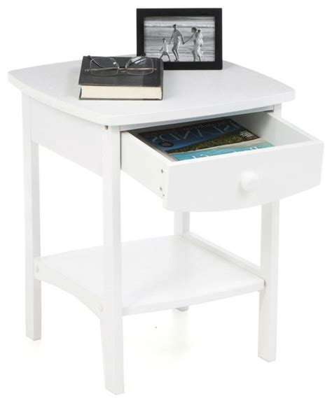 White And Wood Nightstand Fastfurnishings White Wood Contemporary 1 Drawer Bedside Table Nightstand Nightstands And