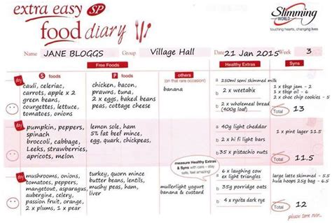 Example Of Slimming World Sp Food Diary Sw Sp