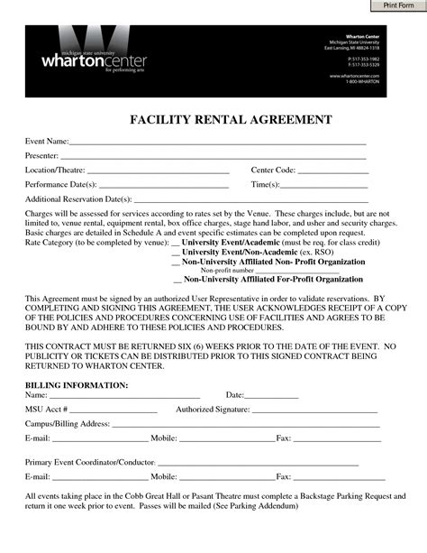 Letter Of Agreement For Use Of Facility 10 Best Images Of Facility Rental Agreement Template Facility Rental Agreement Form Banquet