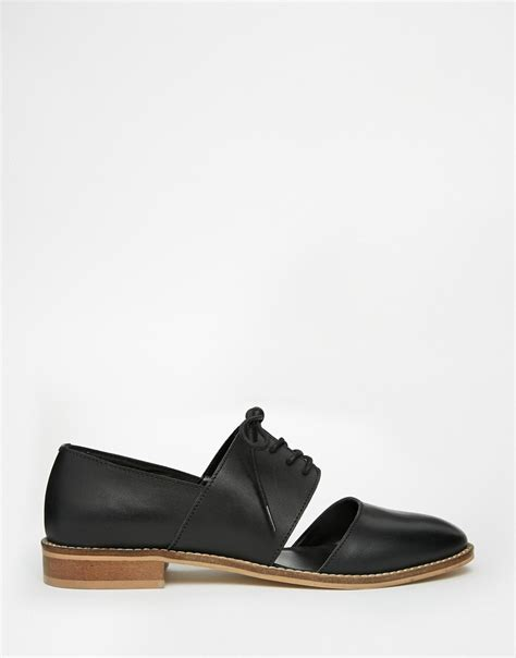 shoes for wide flat asos marcie leather wide fit flat shoes in black lyst