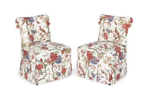 Floral Upholstered Chair by A Pair Of Ground Floral Chintz Upholstered Slipper