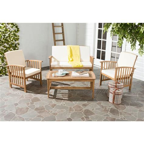 safavieh rocklin teak look 4 patio conversation set