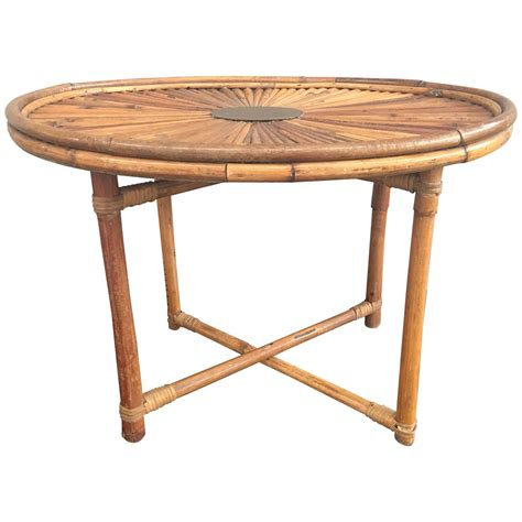 Rising Coffee Table Chic Bamboo Coffee Table Rising Sun Signed Gabriella Crespi At 1stdibs
