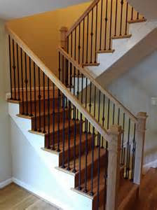 Iron Stair Spindles by Stair Railings With Black Wrought Iron Balusters And Oak