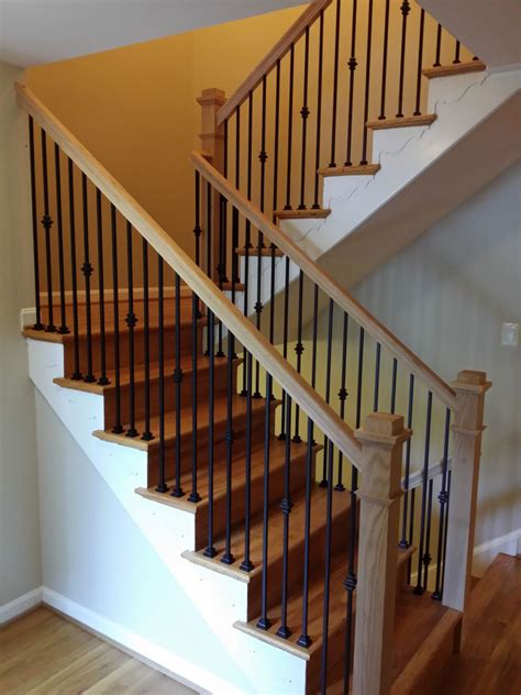 Metal Banister Railing by Stair Railings With Black Wrought Iron Balusters And Oak
