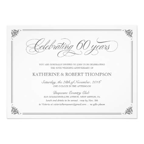 60th wedding anniversary card templates free personalized 60th anniversary invitations
