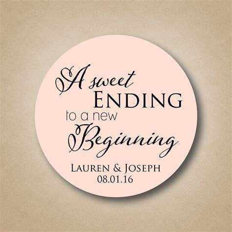 Wedding Box Labels by A Sweet Ending To A New Beginning Personalized Wedding Favor