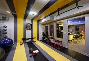 Home Gym Decor Ideas gym decor ideas home gym contemporary with yellow stripes weight room