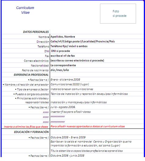 Plantillas De Curriculum Vitae De Una Hoja Curr 237 Culum V 237 Tae En Hoja De Excel Copiar Y Pegar En Word
