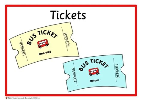printable bus tickets for role play role play the bus role play ideas pinterest plays