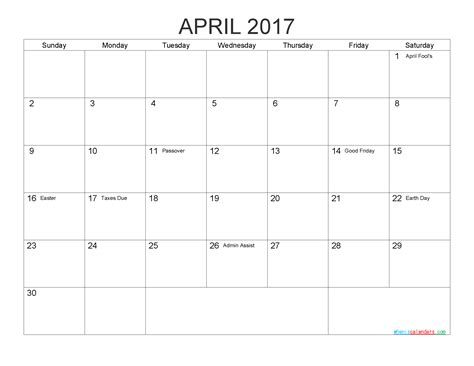 printable calendar april 2017 free printable calendar april 2017 as pdf and image 2018