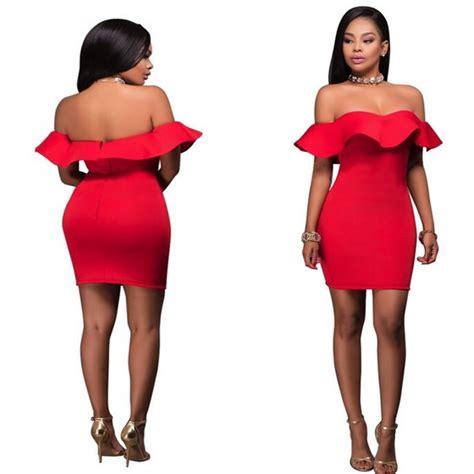 Rastera Plain Bodycon Mini Dress plain ruffle boat neck shoulder bandeau bodycon mini dress mini dresses dresses