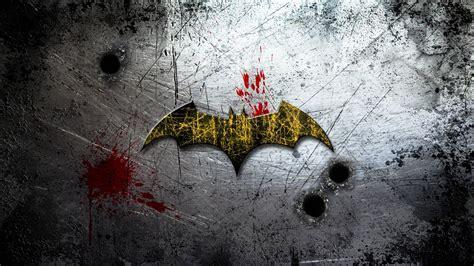 batman wallpaper for walls batman logo on scratched wall wallpaper comic wallpapers