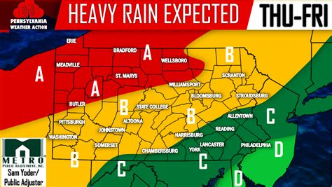 heavy rain expected thursday into friday pa weather action