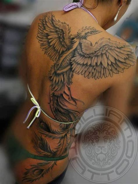 phoenix back tattoo black ink on back ideas