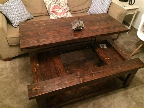 diy lift top coffee table rustic  style ana white