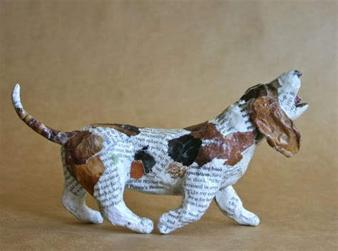 Make Animal Sculptures With Paper Mache Clay - basset hound whimsical paper mache sculpture