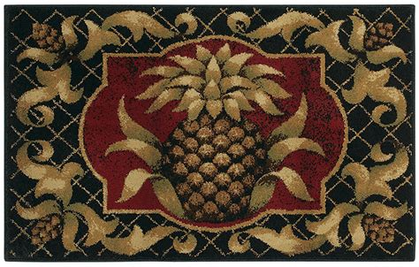 Pineapple Rug by Shaw Beige 3x5 Tropical Pineapple Vines Kitchen Area Rug