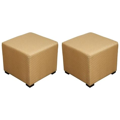 ottomans poufs pair of gold cube upholstered ottomans poufs for sale at
