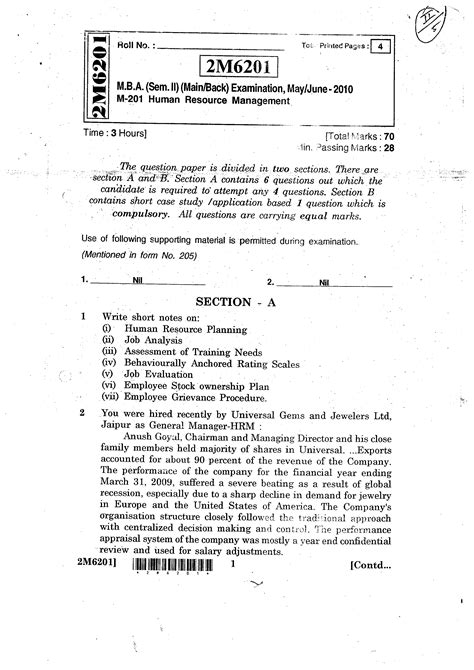 Mba Hrm Important Questions by Rajasthan Technical Rtu M B A M 201 Human