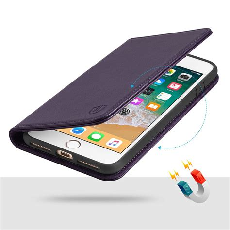 shieldon iphone 7 plus leather cover folio style magnet closure handcrafted genuine leather