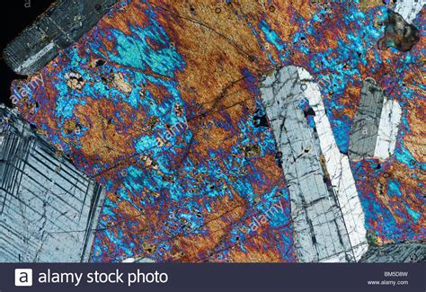 hypersthene in thin section hypersthene gabbro microscope photograph in cross