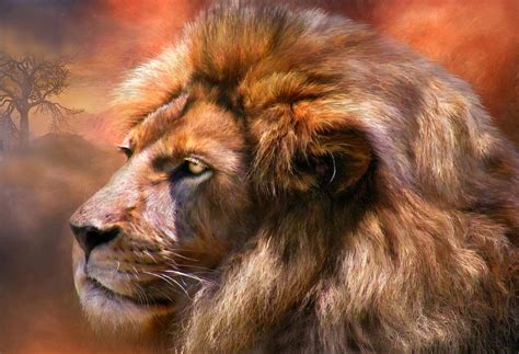 lion print spirit of the lion mixed media by carol cavalaris