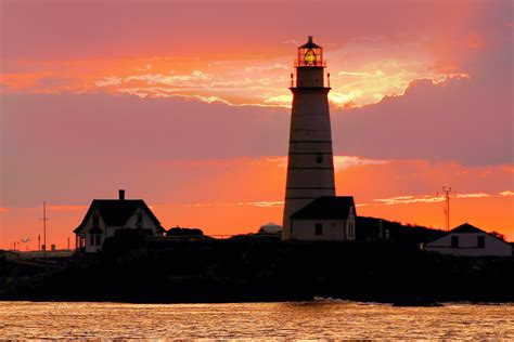 Boston Light At Sunset Boston Lighthouse In Boston Boston Lights
