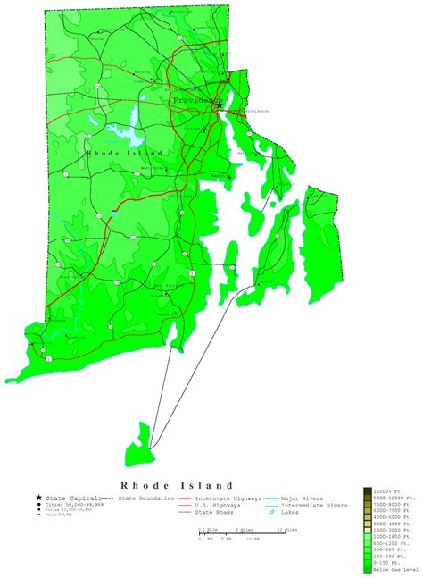 map of ri rhode island contour map