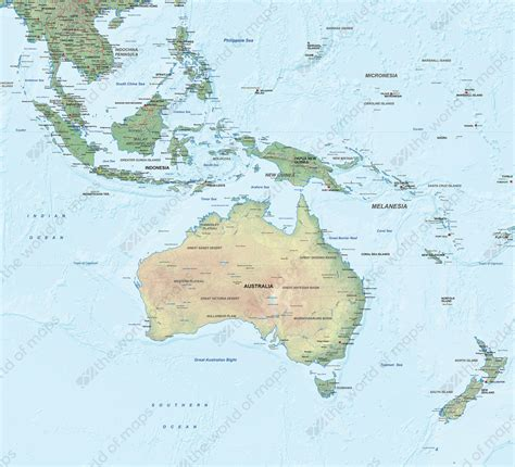physical map of oceania physical digital map oceania 1290 the world of maps