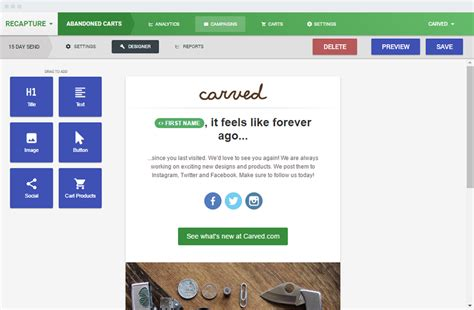 Magento And Shopify Abandoned Cart Email Extension Recapture Io Abandoned Cart Email Template Shopify