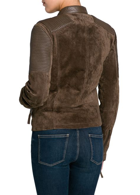 Comby Leather Jacket lyst mango combi leather biker jacket in brown