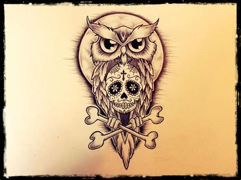 owl and sugar skull tattoo custom designer quot demi liebenberg quot owl