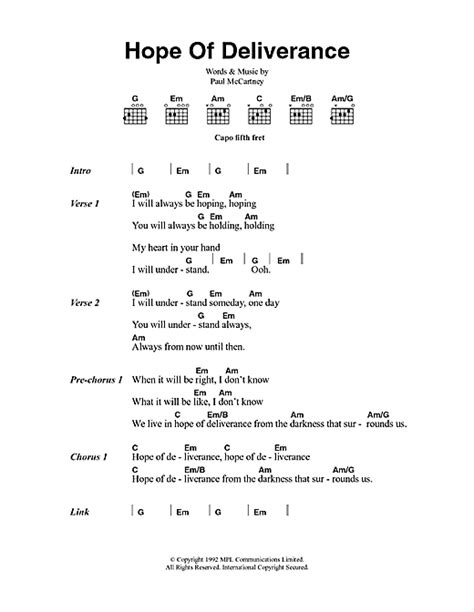 my lyrics paul mc of deliverance sheet by paul mccartney lyrics