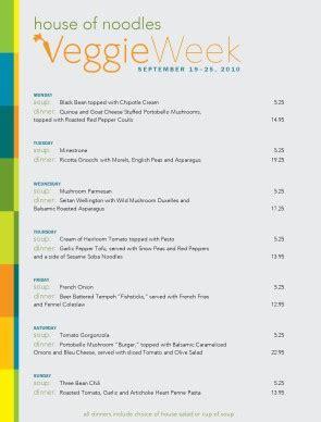 vegetarian week specials menu template archive