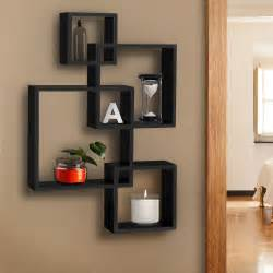 Home Decor For Shelves Bcp Intersecting Squares Floating Shelf Wall Mounted Home