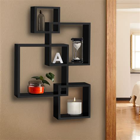 home decor shelves bcp intersecting squares floating shelf wall mounted home